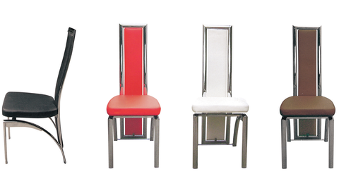 7STAR Polo Dining chairs Faux Leather with Foam Padded chrome frame Furniture Sales