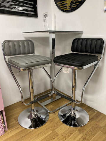 2pc x Magic Bar Stool Chrome Base Steel Tube with Gas Lift Adjustable Height