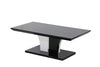 CRYSTAL High Gloss Wood Coffee Table With Glass top/bottom in black or grey glass