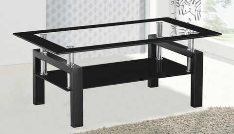 Glass Coffee table black Metal legs and Black Bottom shelf Furniture Sale