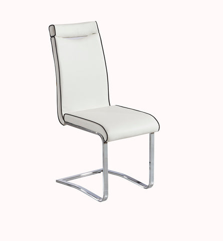 Goldy Dining Chairs in White (Off White) with Black Pipe and Black with White Piping. Faux Leather Chrome Frame