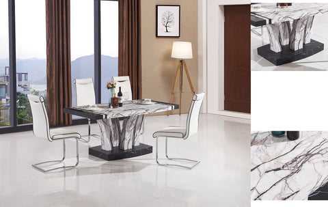 7STAR Aberdeen Dining Table Marble Effect Black-White MDF Laminated Dining Table & 4 or 6 Faux Leather Chair