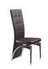 Faux Leather High Back Dining Chairs with Chrome Frame Available in Black Brown Red and White