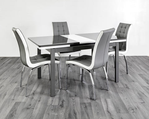 HUSTY-DINING TABLE -GREY/WHITE, BLACK/WHITE, WHITE/BLACK - 120-150