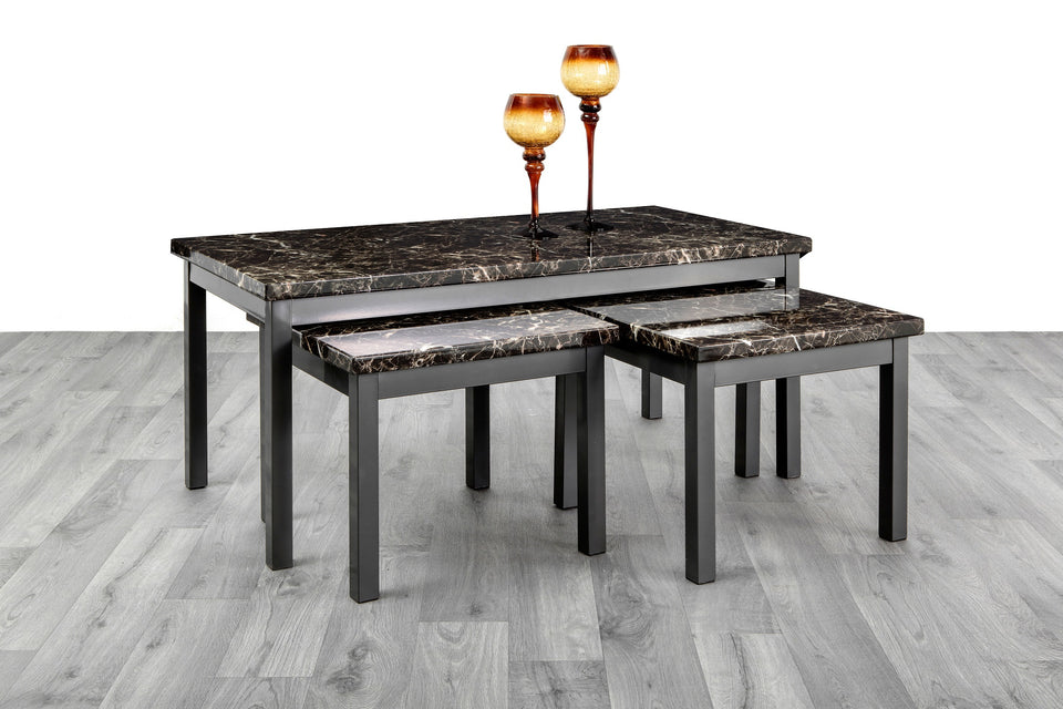 7star lucy 2 1 nest of tables mdf wooden marble effect coffee table set in black brown grey