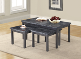 7star Lucy (2+1) Nest Of Tables MDF wooden marble effect Coffee Table set in Black, Brown & grey.