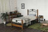 Maple Metal Frame Bed with Solid Wooden Legs and Mesh Base