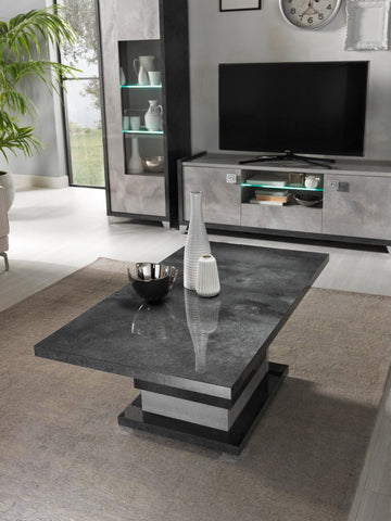 7star Hilton High Gloss Grey Italian Matching Coffee table, Side table & TV unit