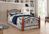 Ps102-Metal Frame Bed with Wooden Legs- Dirty Oak and White