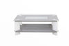 7star wood High gloss coffee table with shelf & clear tempered glass on top