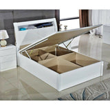 LED White Rugby Danny Bed High Gloss Luxury With Storage Ottoman Bed in Double and King