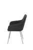 2pc x Suzy Dining Chair in Black Faux Leather seat & Grey Plush velvet seat