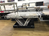 7star Aberdeen Coffee Table MDF Laminated Marble Effect White & Black or grey Modern Design