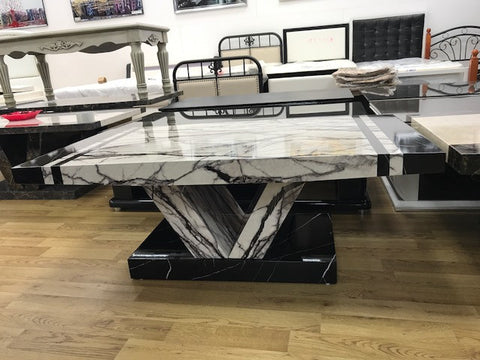 7star Aberdeen Coffee Table MDF Laminated Marble Effect White & Black Modern Design