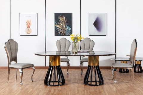 7STAR ANGUS DINING TABLE HIGH GLOSS MARBLE WITH HIGH GLOSS WOODEN LEGS AVAILABLE WITH DIFFERENT DINING CHAIRS
