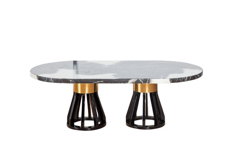 7STAR ANGUS COFFEE TABLE HIGH GLOSS MARBLE WITH HIGH GLOSS WOODEN LEGS IN BLACK-GOLD COLOUR