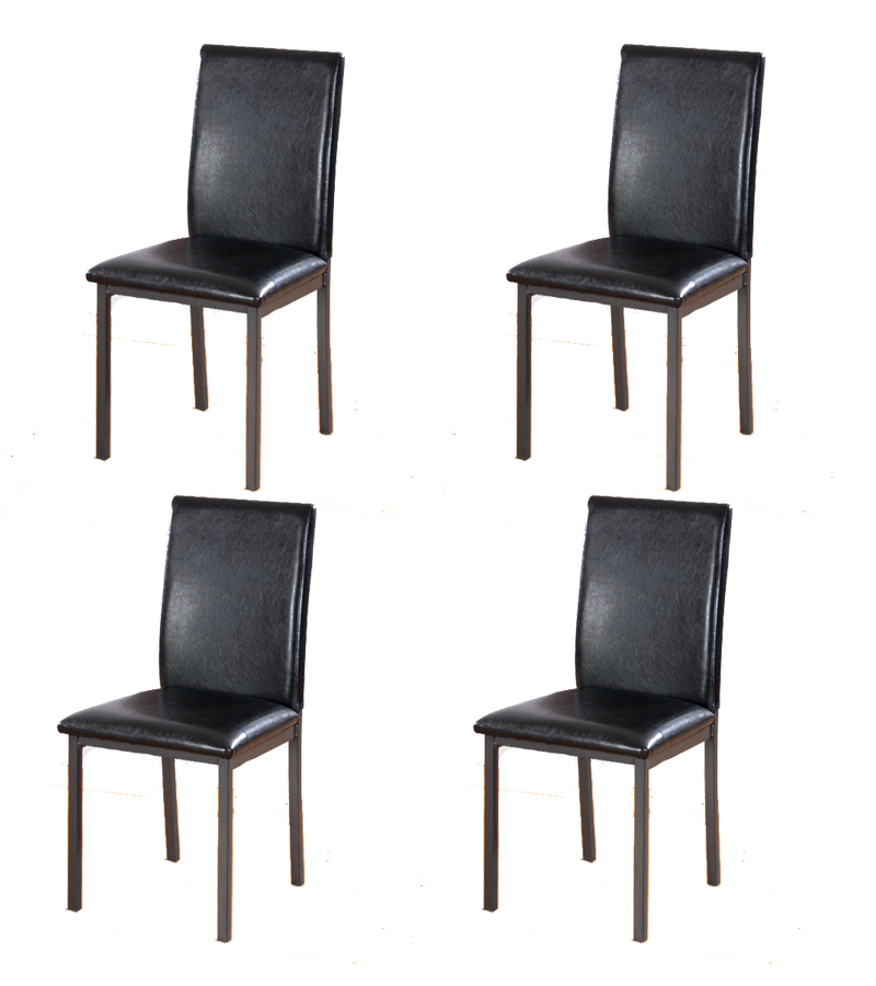 Brown Dining Chairs Faux Leather Foam Padded Strong Metal
