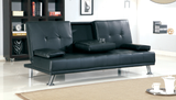 Sofa Bed Modern Style Comfy Sofa Bed Cup Holder Faux Leather black foam