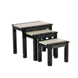 Marble Effect Gloss Finish Nest of Sets Table in Black and Brown