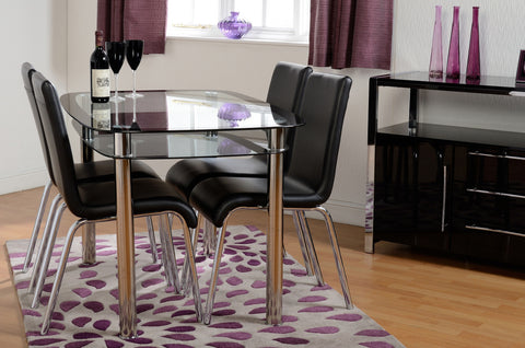 7Star Glass Dining Table with Shelf and 4 Faux Leather with Chrome Frame, Affordable Budget Dining Sets