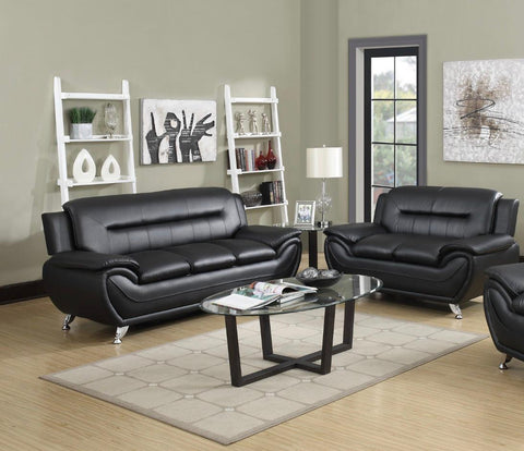 7 star Max sofa set 3+2 in Black and Grey Faux Leather with Chrome silver legs
