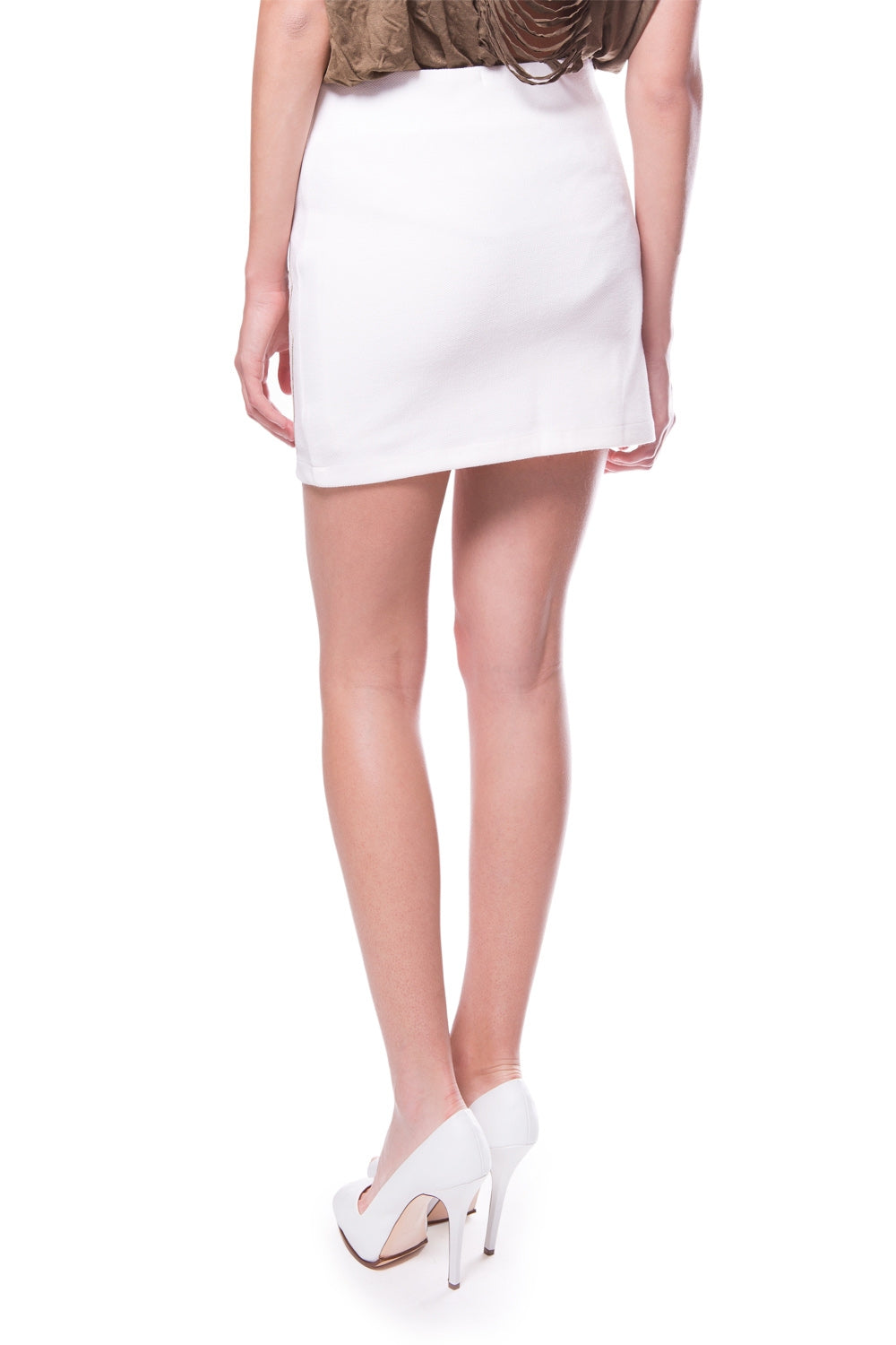 White Embroidered Faux Leather Skirt