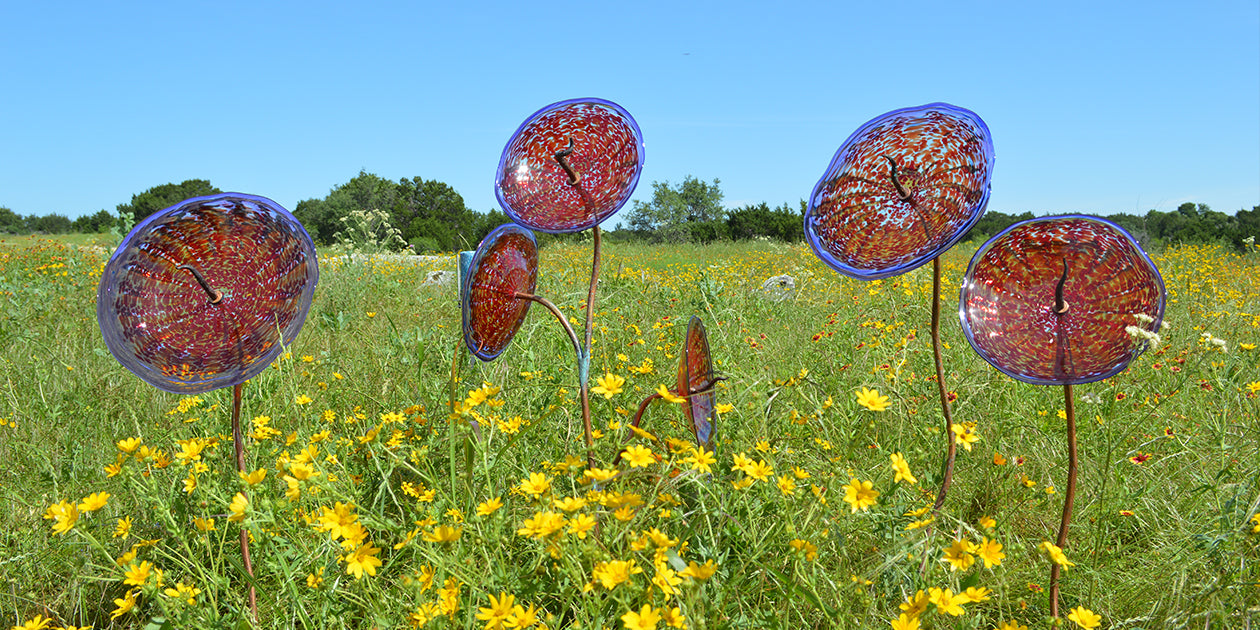 Wimberley Glassworks Glass Menagerie_a blown glass garden of succulents and flowers