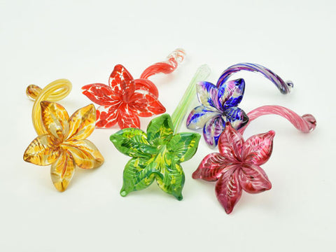 Elegant handblown glass flowers