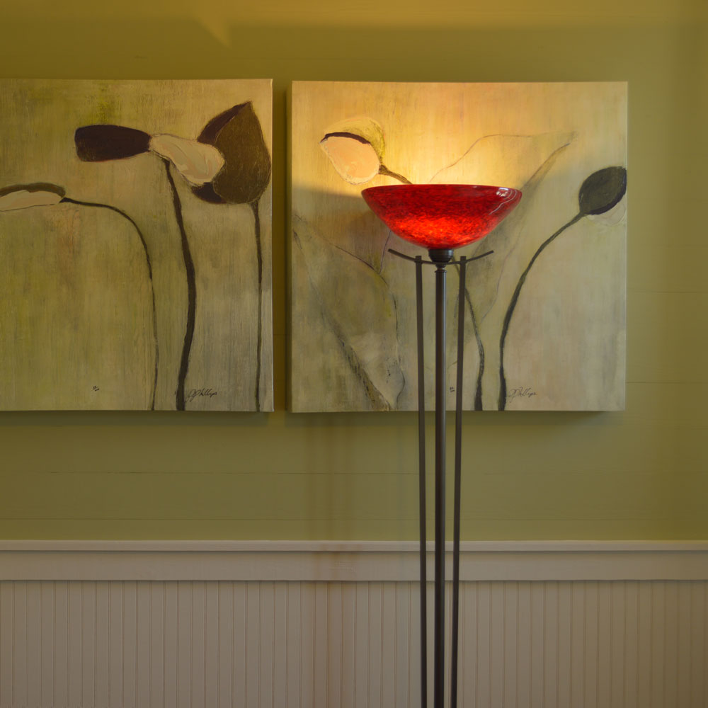 Torchiere Fire Red Floor Lamp