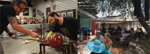 Glassblowing a pumpkin at Wimberley Glassworks