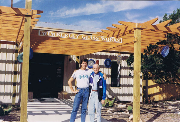Picture of Tim DeJong and his father shortly after the opening of Wimberley Glassworks in 1992