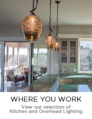 Blown Glass Kitchen and Overhead Lighting, Pendant Lighting and Flush Mount Lighting