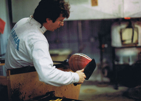 Tim DeJong in his early days as a glassblower