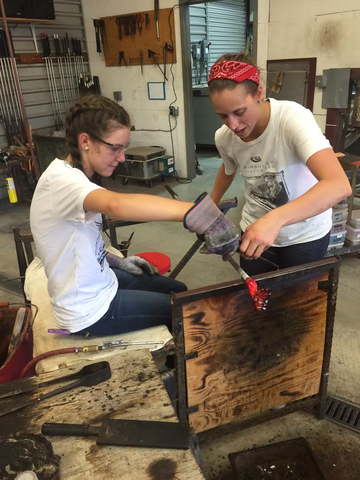 Glassblowing classes in action.