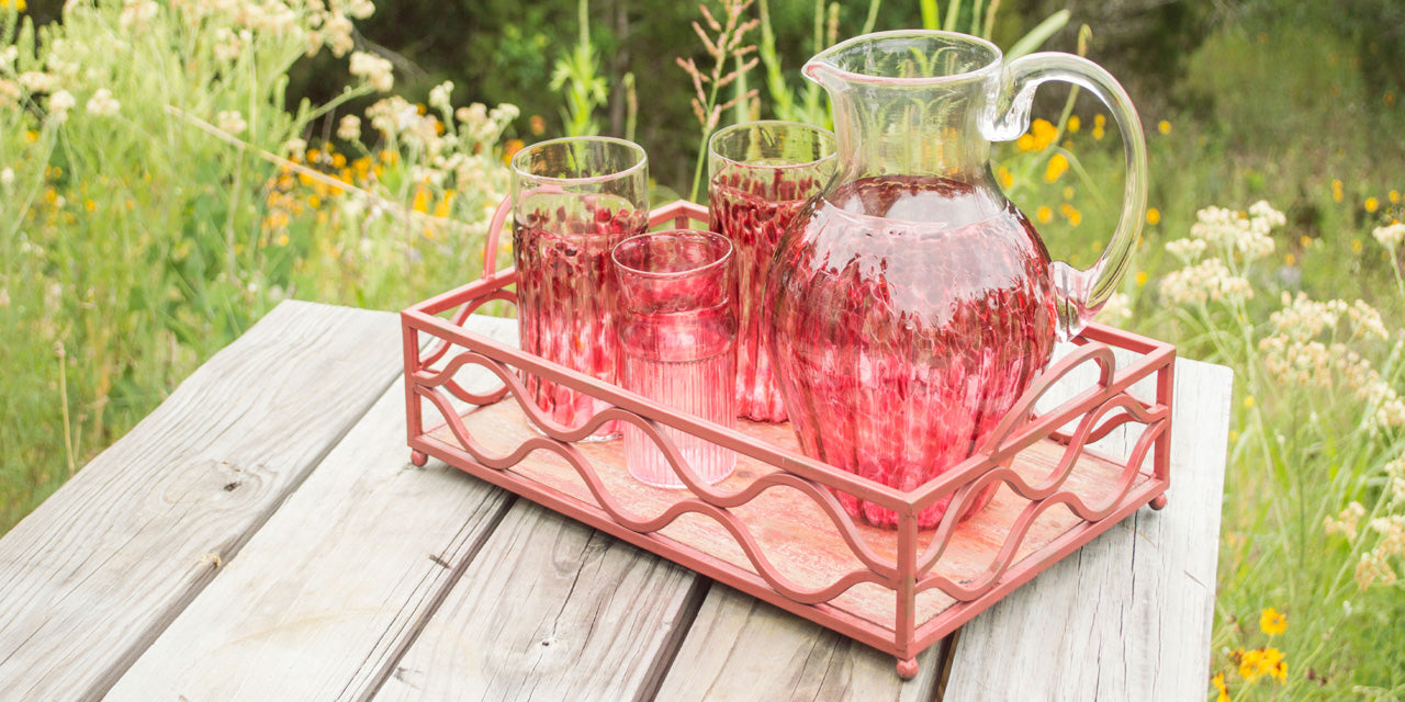 Wimberley Glassworks hand blown glassware with pitcher and tea glasses for ice