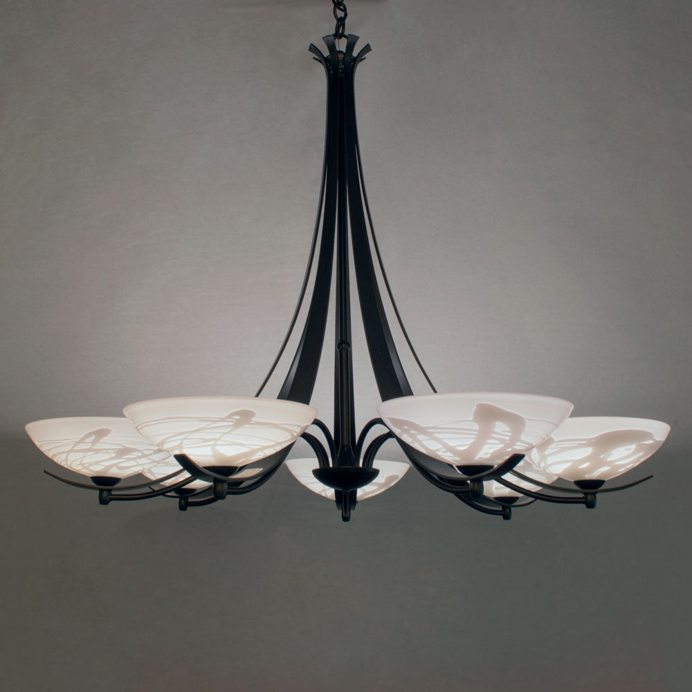 handcrafted chandelier with white shades