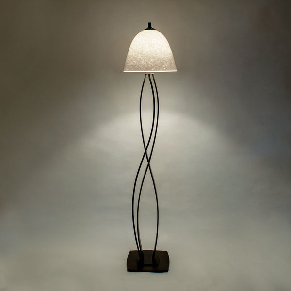floor lamp with white glass shade
