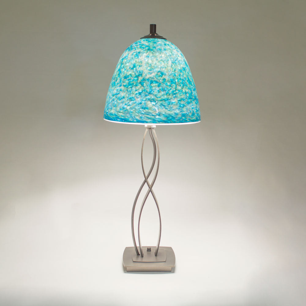 silver table lamp with blue shade