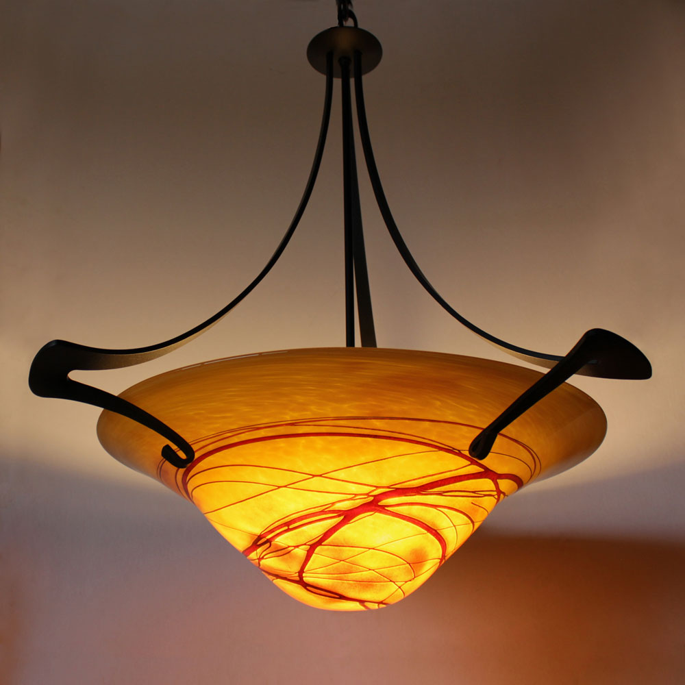 pendant lighting for entertainment area with handmade shade