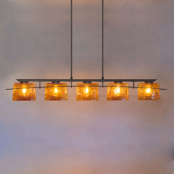 bar lighting with handmade glass shades