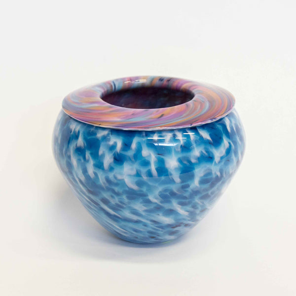 Multi on Aqua Folded Lip Bowl