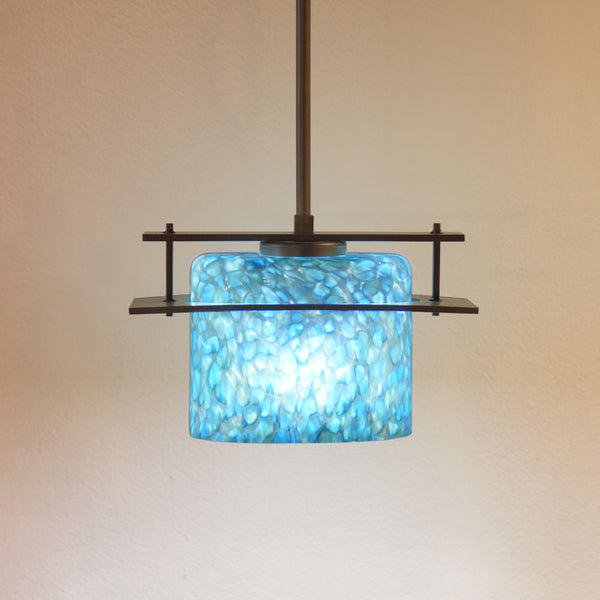 pendant lighting with handmade blue shade