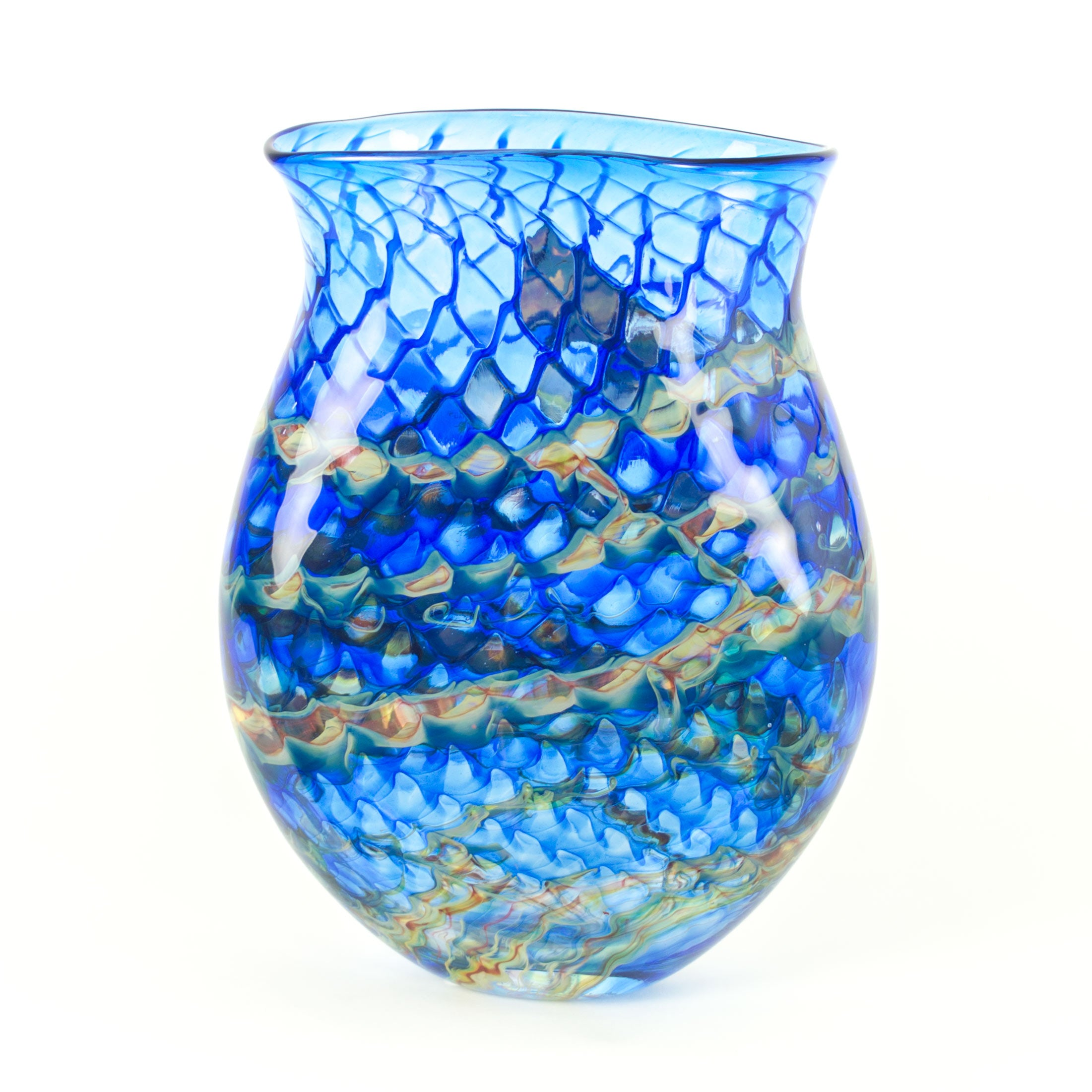 hand blown colored art glass vase