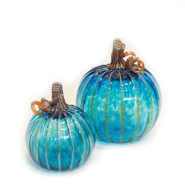 aqua handblown pumpkin