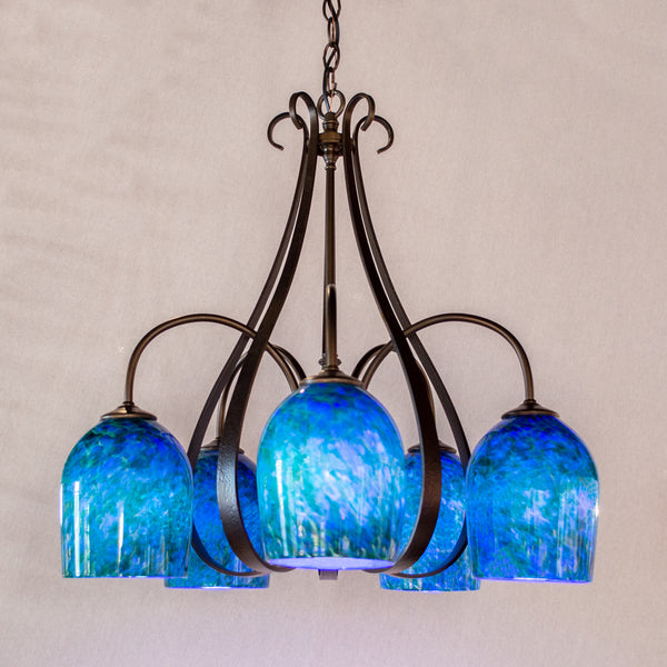 handmade art glass chandelier