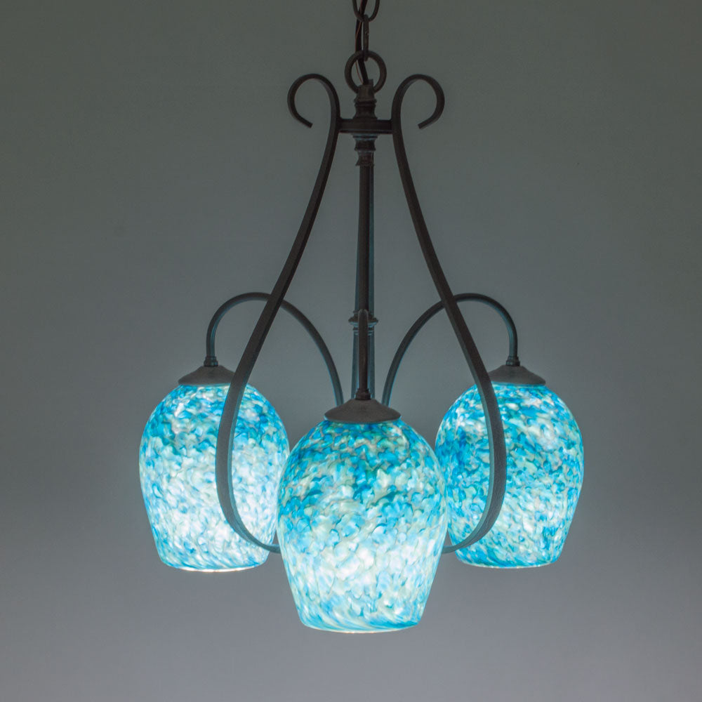 handcrafted three light art glass chandelier