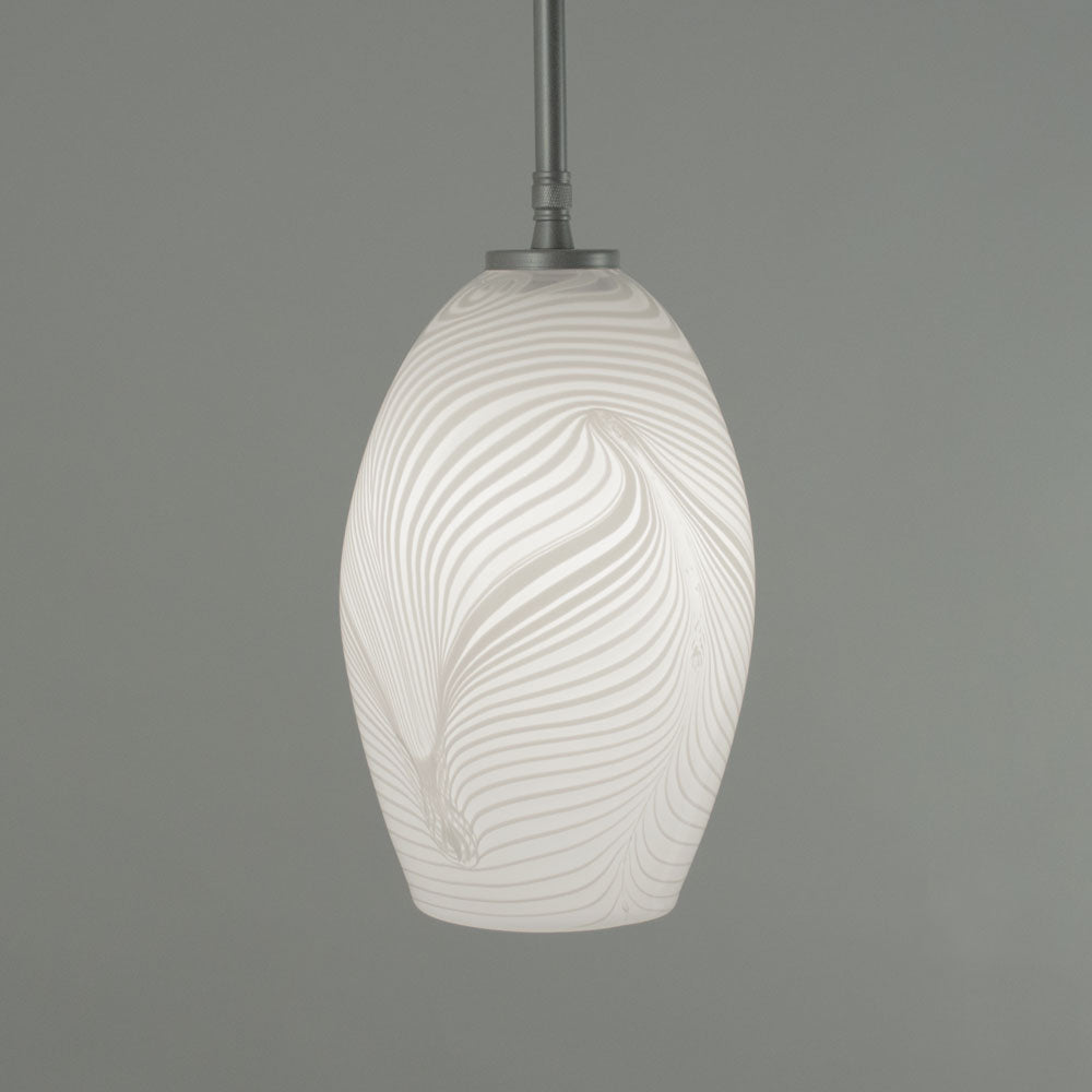 Image shows White Feather medium Bullet shade with Nickel finish