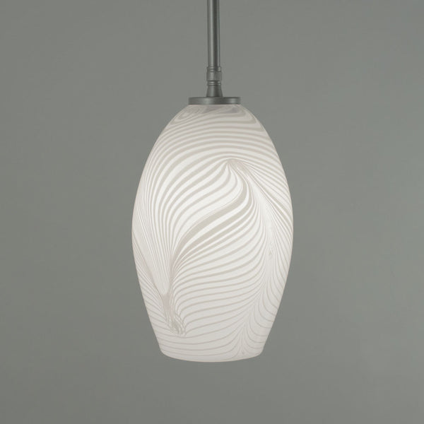 WGW Universal Pendant with Wrap and Rake Long Dome Shade
