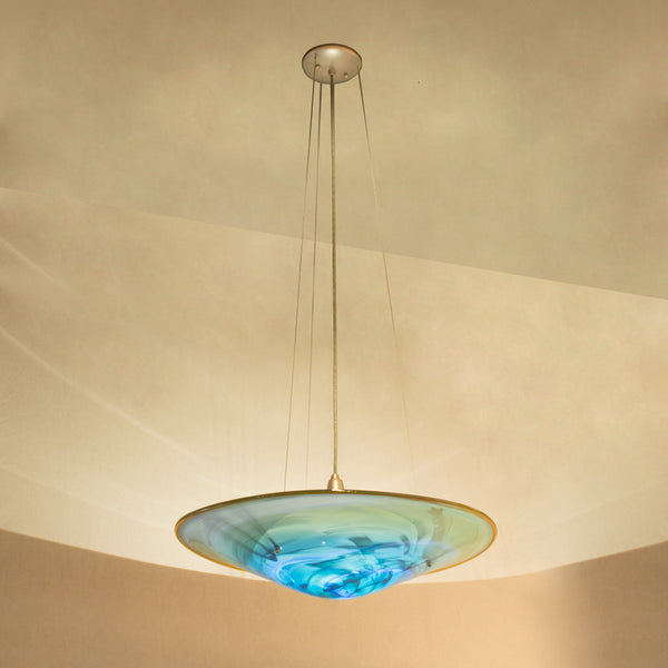 Image shows Ocean Stone large platter shade shown with Nickel metal finish. Alternate image shows Monet Aqua on White shade