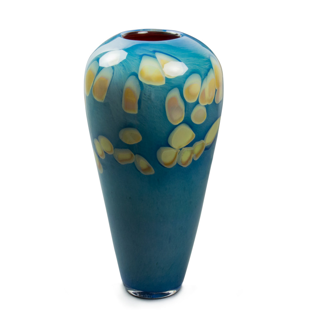 ocean blue handmade glass vase